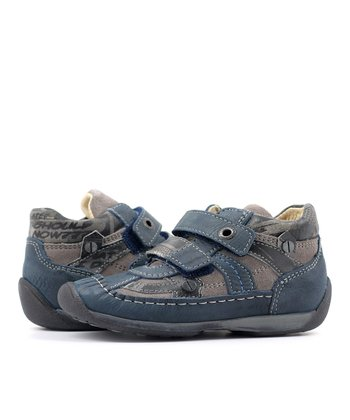 Blue & Gray Double Strap Flower Shoe