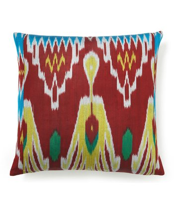 Red Ikat Silk-Blend Down Square Throw Pillow