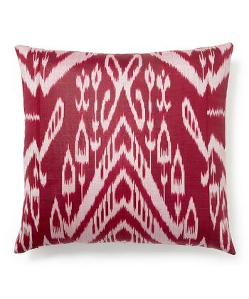 Berry Ikat Silk-Blend Down Square Throw Pillow