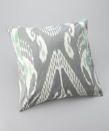 Gray Ikat Square Down Throw Pillow