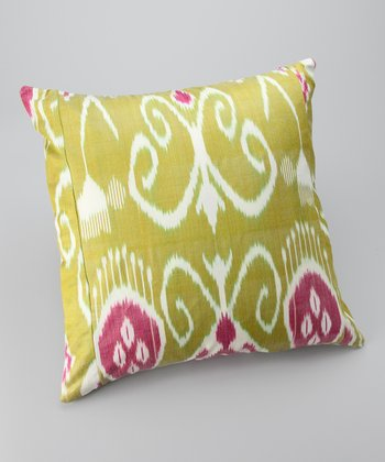 Lime & Pink Ikat Silk-Blend Down Square Throw Pillow