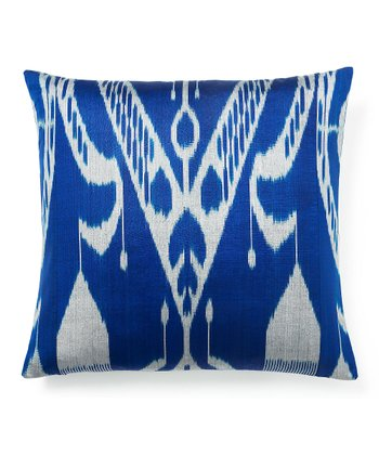 Sky Blue Ikat Down Throw Pillow