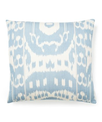 Light Blue Ikat Square Throw Pillow