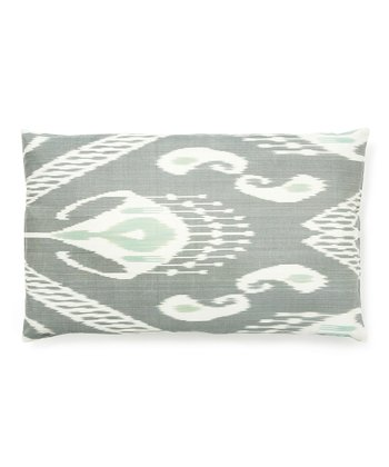 Gray Ikat Rectangular Down Throw Pillow