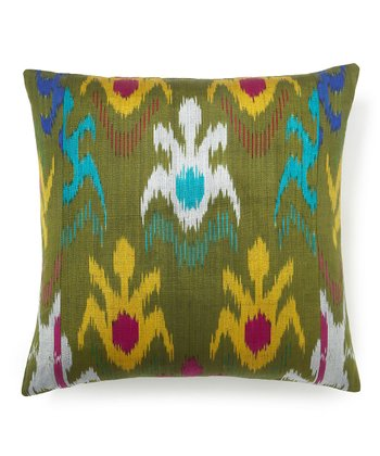 Olive Ikat Silk-Blend Square Down Pillow