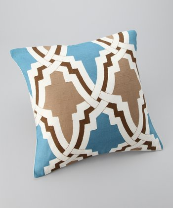 Brown & Blue Global Down Square Throw Pillow