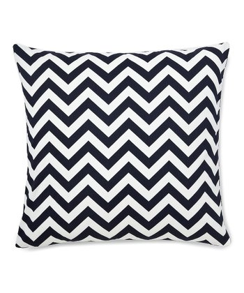 Navy Zigzag Down Throw Pillow