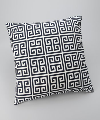 Navy Greek Key Down Throw Pillow