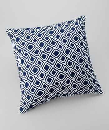 Blue Geometric Down Throw Pillow