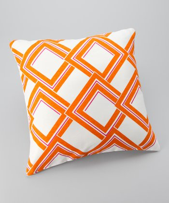 Orange Diamond Down Throw Pillow