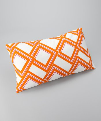 Orange Diamond Down Rectangular Throw Pillow