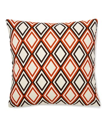 Pumpkin & Brown Geometric Down Throw Pillow