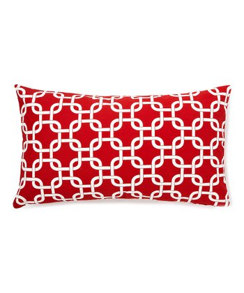 Red Geometric Down Rectangular Throw Pillow