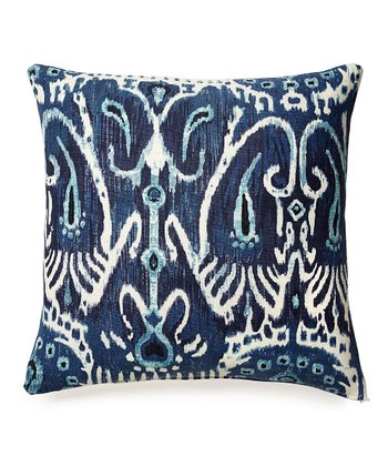 Navy Scroll Karma Down Throw Pillow