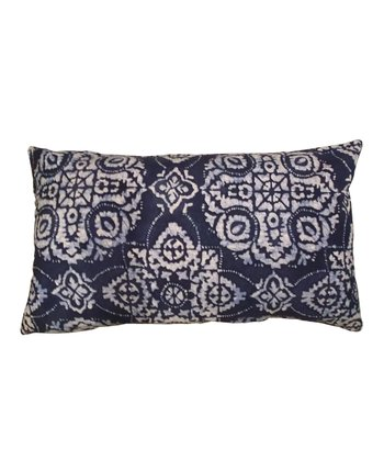 Blue Medallion Karma Rectangular Down Throw Pillow