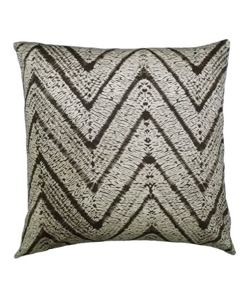 Brown Zigzag Karma Down Square Throw Pillow