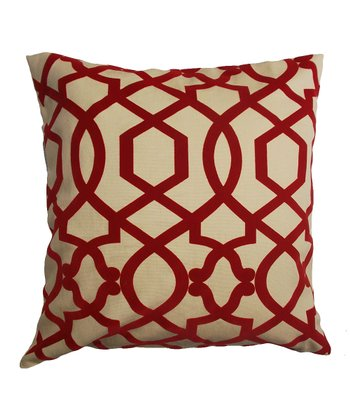 Red & Cream Ironwork Down Square Throw Pillow