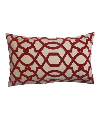 Red & Cream Ironwork Down Rectangular Throw Pillow