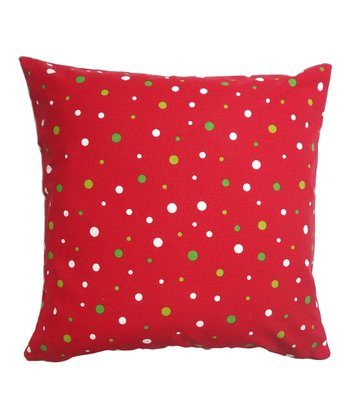 Red Holiday Dot Square Pillow