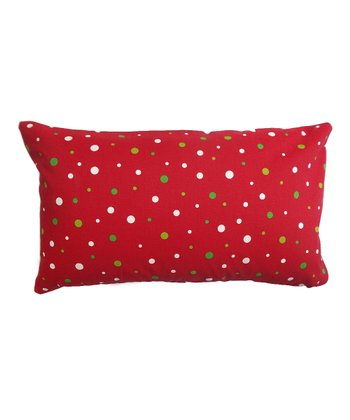 Red Holiday Dot Rectangle Pillow