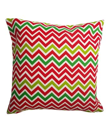 Red & Green Zigzag Holiday Square Pillow