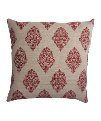 Red & Beige Down Square Pillow