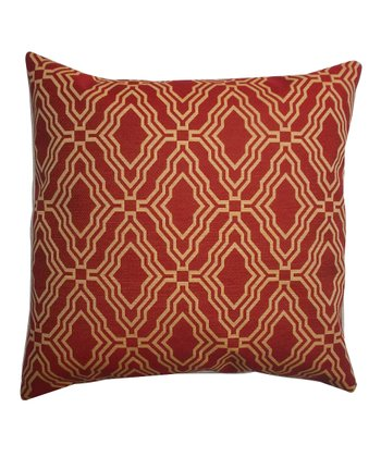Red Lattice Down Square Throw Pillow