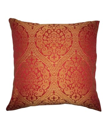 Red Damask Square Pillow