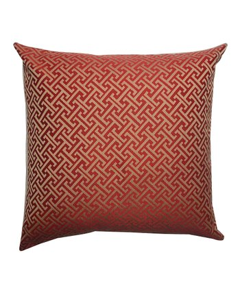 Red & Gold Down Square Throw Pillow