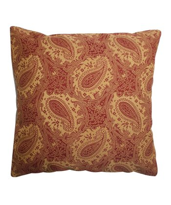 Red Paisley Square Pillow