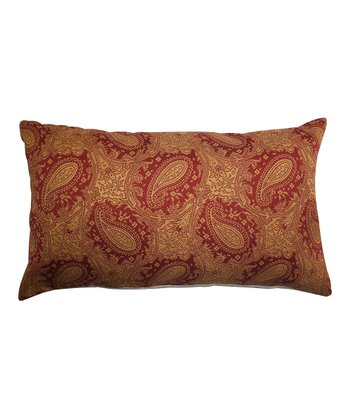 Red Paisley Rectangle Pillow