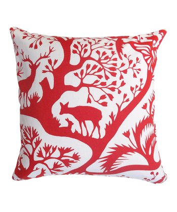Red Woodland Down Square Pillow
