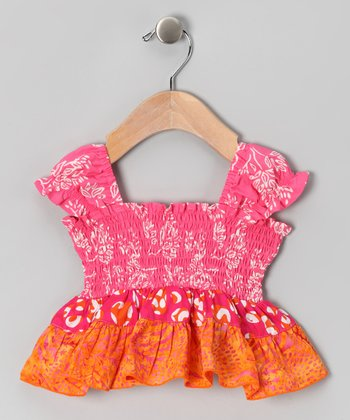 Pink Jungle Smocked Top - Infant & Toddler