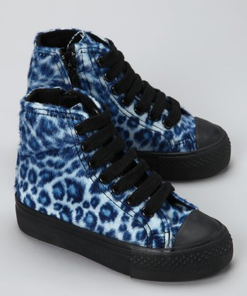 Electric Blue Cheetah Hi-Top Sneaker