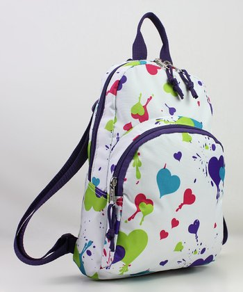 White Splatter Paint Heart Mini Backpack