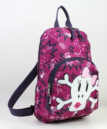 Pink & Black Skull Mini Backpack