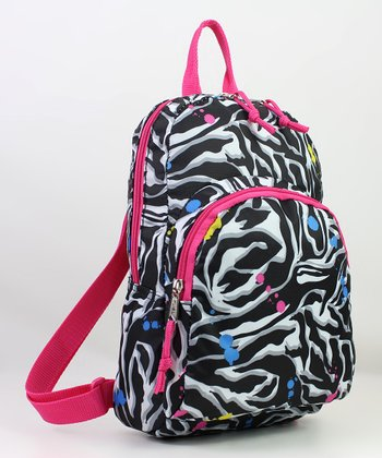 Black & Pink Zebra Mini Backpack