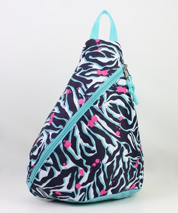 Black & Blue Zebra Mini Sling Backpack