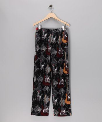Gray Guitar Fleece Pants - Kids