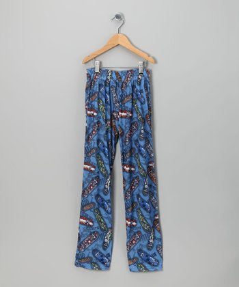Blue Skateboard Pajama Pants - Kids