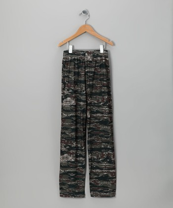Gray Tiger Camo Pajama Pants - Kids