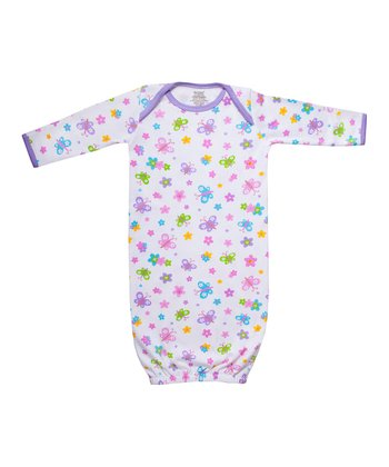 White & Purple Butterfly Garden Organic Gown - Infant