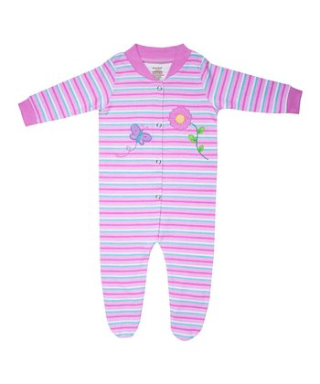 Pink Stripe Flower & Butterfly Organic Footie - Infant