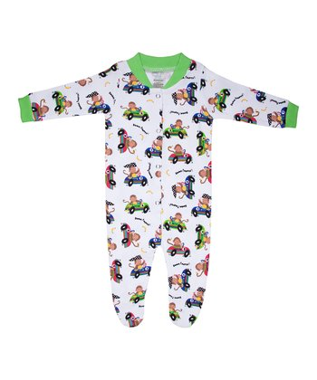 White & Green Racecar Monkey Organic Footie - Infant