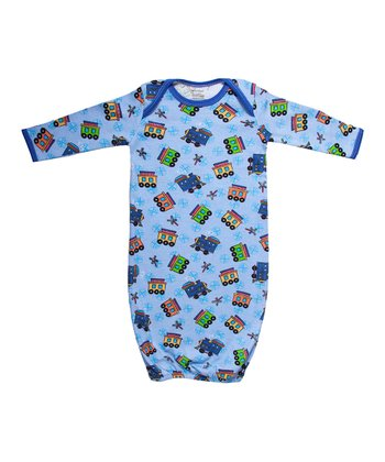Blue All Aboard Organic Gown - Infant