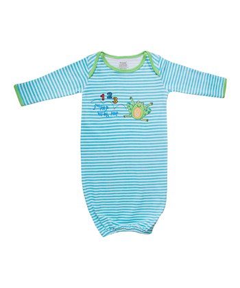 Blue & White Stripe '123 Jump' Organic Gown - Infant