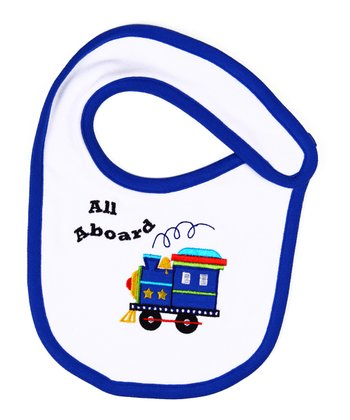 Blue 'All Aboard' Organic Bib