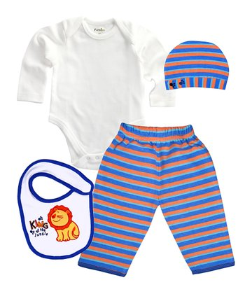 Orange & Blue Stripe 'King of the Jungle' Organic Bodysuit Set