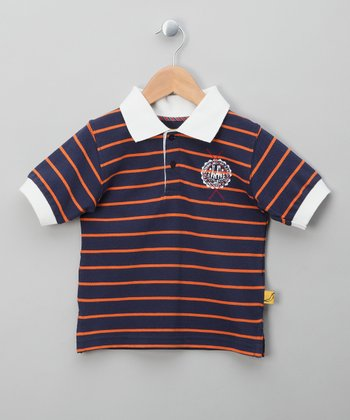 Brown & Orange Stripe Polo - Toddler & Boys