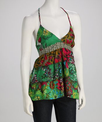 Funky People Green & Pink Butterfly Patchwork Camisole
